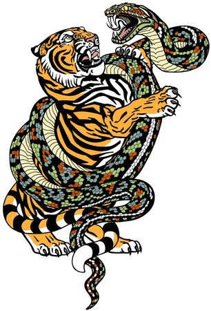 fight between tiger and snake. Angry reptile coiled the big cat. Graphic style vector illustration. Tattoo Illustration