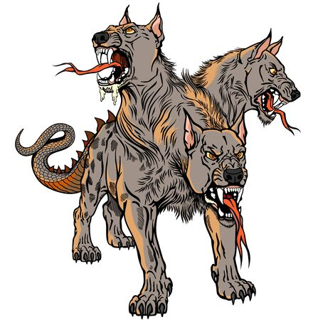 Cerberus hellhound Mythological three headed dog the guard of entrance to hell. Hound of Hades. Isolated tattoo style vector illustration