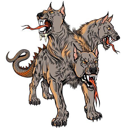 Cerberus Hellhound Perro mitológico de tres cabezas el guardián de la entrada al infierno. Sabueso del Hades. Ilustración de vector de estilo de tatuaje aislado Ilustración de vector