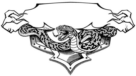 Angry snake. Tattoo, banner, emblem with ribbon scroll. Shirt design template. Black and white graphic style vector illustration