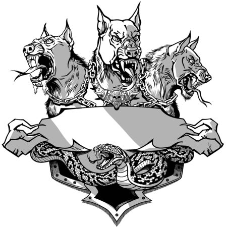 Cerberus hell hound and angry snake. Mythological three headed dog the guard of entrance to hell. Hound of Hades. Heraldic template with ribbon scroll. Shirt or tattoo design.  Graphic style vector illustration Stock Illustratie