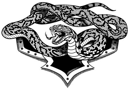 aggressive snake . Black and white heraldic or tattoo style vector illustration