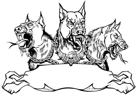 Cerberus hell hound. Mythological three headed dog the guard of entrance to hell. Hound of Hades. banner, emblem with ribbon scroll. Shirt design template. Black and white graphic style vector illustration