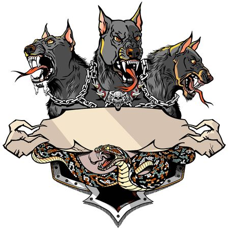 Cerberus Black Hellhound and angry snake. Mythological three headed dog the guard of entrance to hell. Hound of Hades. banner, emblem with ribbon scroll. Tattoo, Shirt design template. Graphic style vector illustration