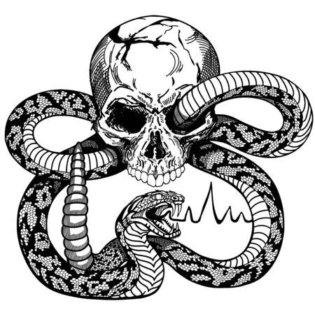 serpente arrotolato intorno al cranio umano. Serpente a sonagli pericoloso arrabbiato. Illustrazione vettoriale di stile di design di tatuaggi o camicie in bianco e nero