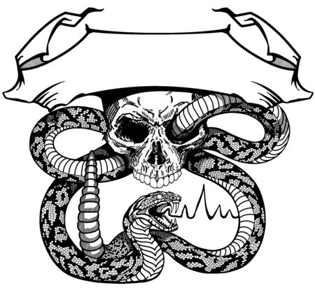 snake coiled round the human skull. Angry dangerous rattlesnake.  banner, emblem with ribbon scroll. Black and white Tattoo or shirts design style vector illustration 向量圖像