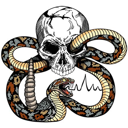 snake coiled round the human skull. Angry dangerous rattlesnake. Tattoo or shirts design style vector illustration