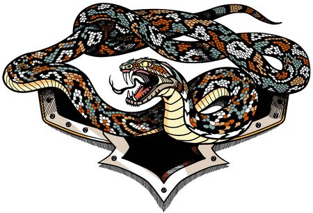 Vector illustration of snake with an open mouth on white background. Aggressive serpent. Tattoo, shirts design template illustration Vettoriali
