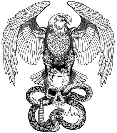Eagle sitting on the human skull wrapped with snake. Angry dangerous rattlesnake. Black and white Tattoo or shirts design style vector illustration. Front view Illustration