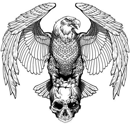 Aquila seduta sul cranio umano. Bianco e nero tatuaggio o camicie stile di design illustrazione vettoriale. Vista frontale