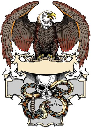 Eagle sitting on the human skull wrapped with a snake. Angry dangerous rattlesnake. banner, emblem with ribbon scroll. Tattoo, t-shirt design template. Graphic style vector illustration