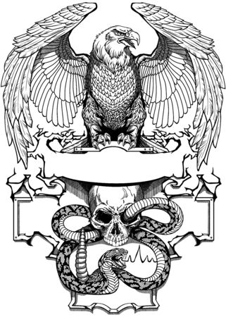 Eagle sitting on the human skull wrapped with snake. Angry dangerous rattlesnake. banner, emblem with ribbon scroll. Tattoo, t-shirt design template. Black and white graphic style vector illustration Ilustração
