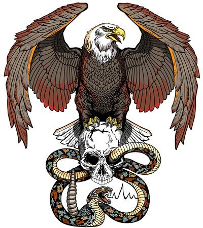 Eagle sitting on the human skull wrapped with the snake. Angry dangerous rattlesnake. Black and white Tattoo style vector illustration. Front view