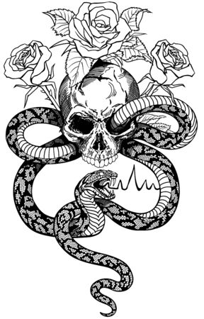snake coiled around the human skull and roses. Angry dangerous serpent and flowers .Black and white Tattoo style isolated vector illustration. Front view