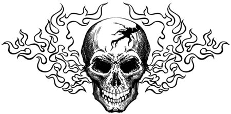 burning human skull in the tongues of fire. Front view tattoo. Black and white isolated vector illustration