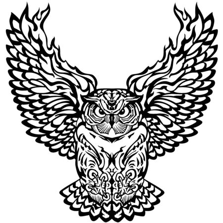 flying owl with open burning wings looking deep with a sharp gaze. Black and white tattoo. Front view vector illustration Zdjęcie Seryjne - 138797123