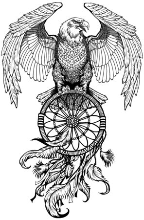 eagle with dreamcatcher. American native indians dreamcatcher. Black and white tattoo style vector illustration