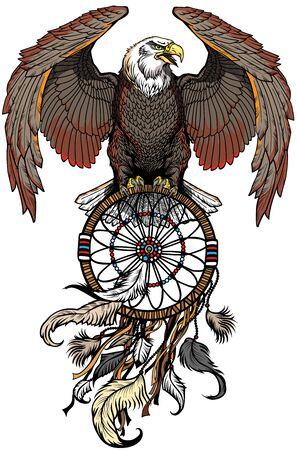 eagle with dreamcatcher. American native indians dreamcatcher. Front view tattoo style vector illustration