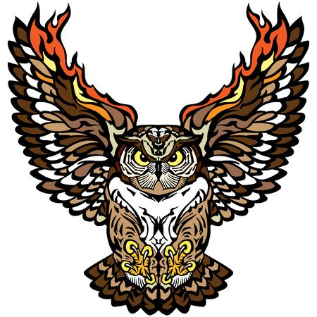 flying owl with open burning wings and looking deep with a straight gaze. Tattoo. Front view vector illustration Zdjęcie Seryjne - 139006500