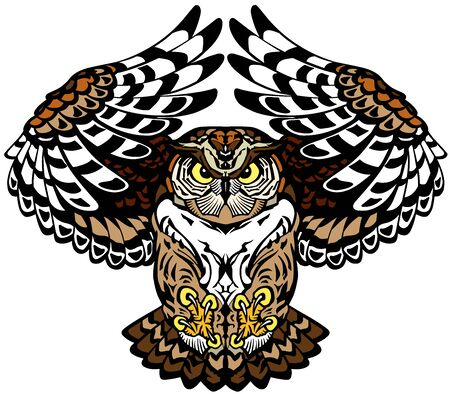 flying owl with open wings looking deep with a sharp gaze. Tattoo. Front view vector illustration Ilustracja