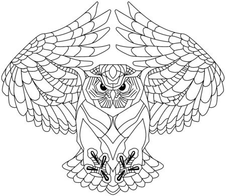 flying owl with open wings looking deep with a sharp gaze. Black and white outline tattoo. Front view vector illustration Stock Illustratie