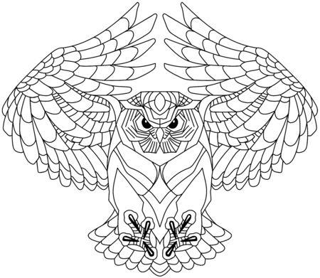 latająca sowa z otwartymi skrzydłami, patrząca głęboko z ostrym spojrzeniem. Czarno-biały zarys tatuażu. Ilustracja wektorowa widok z przodu