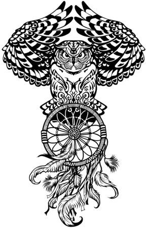 flying owl with american native indians dreamcatcher. Black and white tattoo style vector illustration Zdjęcie Seryjne - 139486143