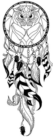 owl in the circle of native Indians dreamcatcher. Black and white outline tattoo. Vector illustration