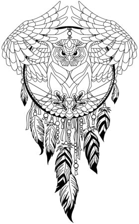 flying owl in the circle of native Indians dreamcatcher. Black and white outline tattoo. Vector illustration Zdjęcie Seryjne - 139486149