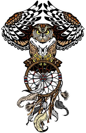flying owl with american native indians dreamcatcher. Tattoo. Front view vector illustration Zdjęcie Seryjne - 139836049