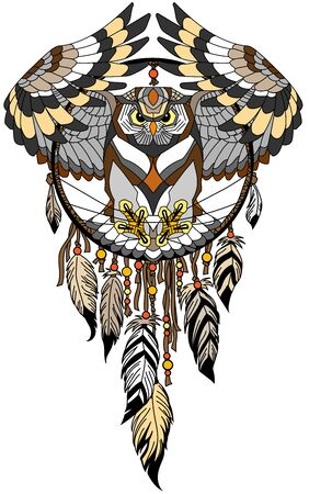 flying owl in the circle of native Indians dreamcatcher. Tattoo style vector illustration