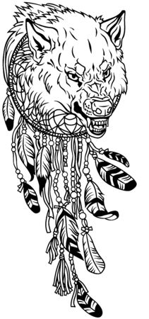 head of angry wolf in the circle of native Indians dreamcatcher. Black and white outline tattoo. Vector illustration