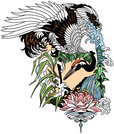 Japanese crane bird in the garden landscape with water lily flower. Tattoo. Graphic vector illustration