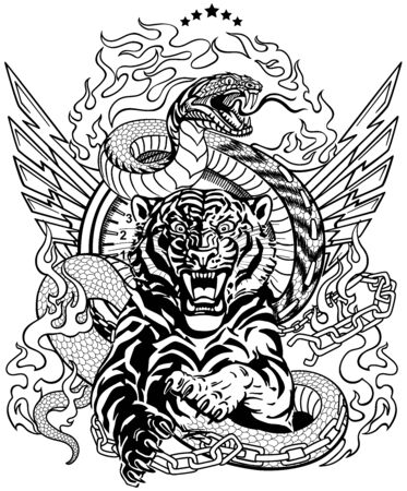 roaring tiger in the jump and snake like road. Design template include broken chain, tongues of flame and wings. Black and white  Biker Tattoo. Vector illustration Illustration