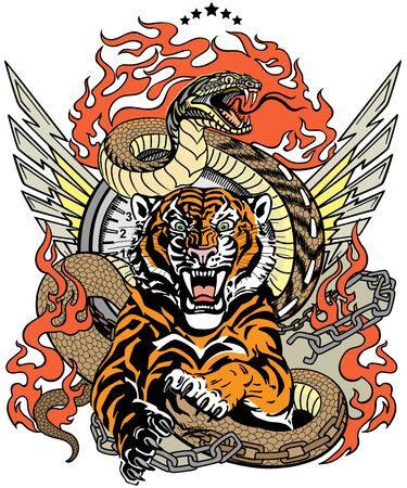 roaring tiger in the jump and snake like road. Design template include broken chain, tongues of flame and wings. Biker Tattoo. Vector illustration