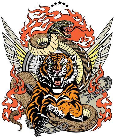 tigre rugissant dans le saut et serpent comme route. Le modèle de conception comprend une chaîne brisée, des langues de flammes et des ailes. Tatouage de motard. Illustration vectorielle