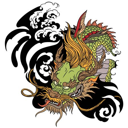 Head of Chinese or East Asian dragon. Tattoo. Vector illustration