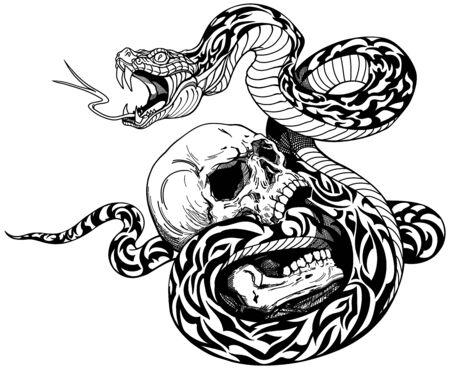snake coiled around the broken human skull. Black and white tattoo. Vector illustration