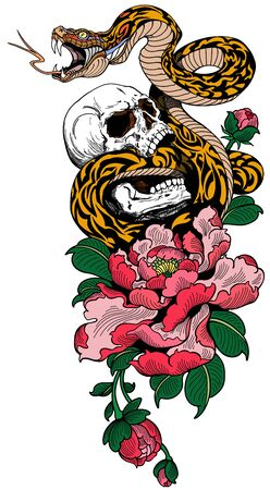 Angry snake coiled around the broken human skull and peony flower. Tattoo. Vector illustration