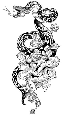 snake coiled around peony flower. Black and white Tattoo. Graphic style vector illustration