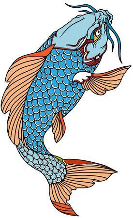 poisson carpe koi bleu nageant. Tatouage. Illustration vectorielle isolée Vecteurs