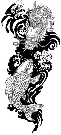 Chinese or East Asian dragon with water waves and Japanese koi carp fish swimming up. Tattoo. Vector illustration