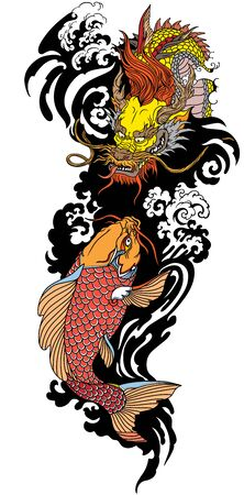 Golden East Asian dragon with water waves and Japanese koi carp fish swimming up. Tattoo. Vector illustration