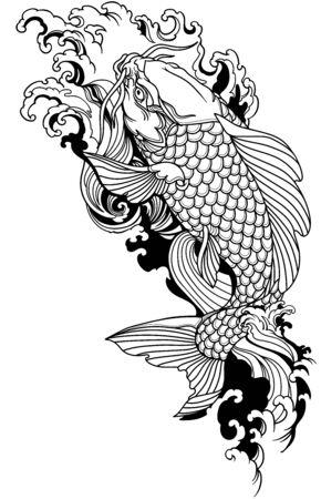 Koi-Karpfen schwimmen stromaufwärts. Japanischer Goldfisch mit Wasserwellen. Tätowierung. Schwarz-Weiß-Vektor-Illustration