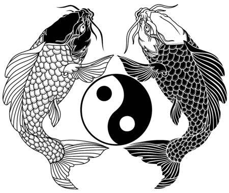 two koi carp fishes and the circle of yin yang symbol. Tattoo. Black and white vector illustration