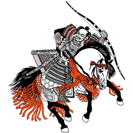 Asian warrior archer. Japanese Samurai horseman sitting on horseback, wearing medieval leather armor and holding a bow. Medieval East Asia soldier riding pony horse in the gallop. Black Grey Red vector