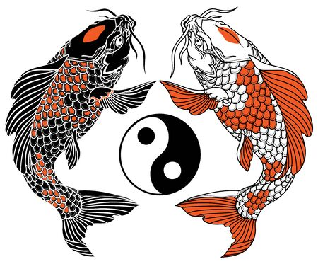 two koi carp fishes and the circle of yin yang symbol. Tattoo. Black Red and white vector illustration