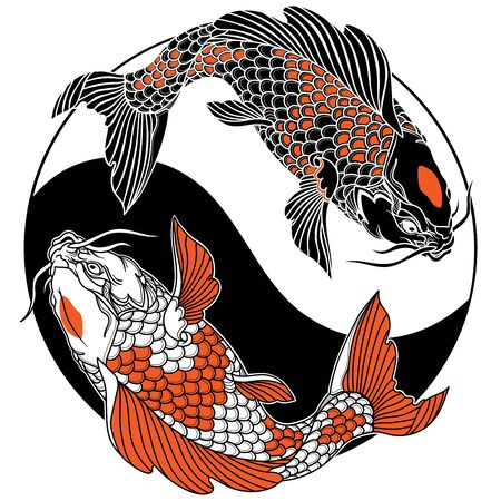 two koi carp fishes in the circle of yin yang symbol. Tattoo. Black white red vector illustration