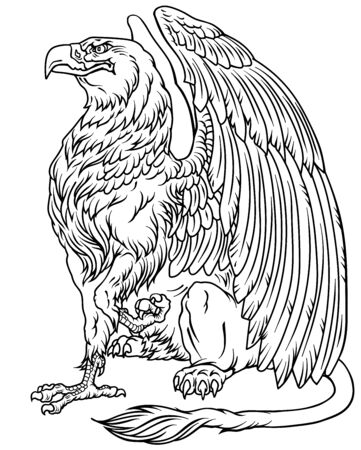 Griffin, griffon, or gryphon. A mythical beast having the body of a lion and the wings and head of an eagle. Sitting pose, side view. Black and white outline vector illustration