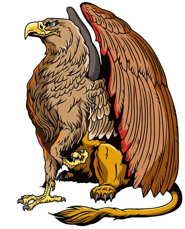 Griffin, griffon, or gryphon. A mythical beast having the body of a lion and the wings and head of an eagle. Sitting pose, side view. Vector illustration